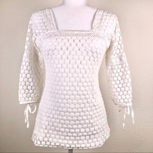 Solitaire Lace Peasant Blouse 3/4 Sleeves White M